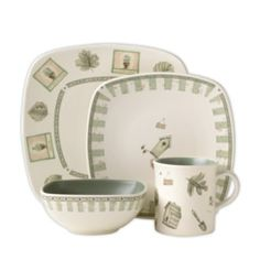 Naturewood is a study of botanical beauty that is rendered in a soft, natural color palette. A series of framed potted herbs are interspersed with detailed sketches of leaves, and delicate stripes and accents of garden elements decorate the wide selection of accessories. This square set is a nice departure from conventional round dinnerware, or you can mix and match the two.