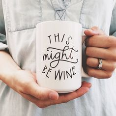 15 oz. This Might Be Wine Ceramic Mug by BrimPapery on Etsy