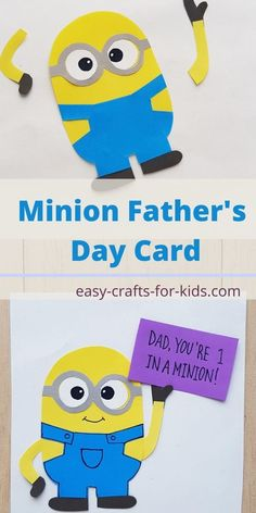 How to Make a Minion Father's Day Card craft for kids Paper Crafts For Kids, Easy Crafts For Kids, Fun Activities For Kids, Craft Activities, Diy Father's Day Cards, Minion Craft, Easy Fathers Day Craft, Epic Kids, Father's Day Diy