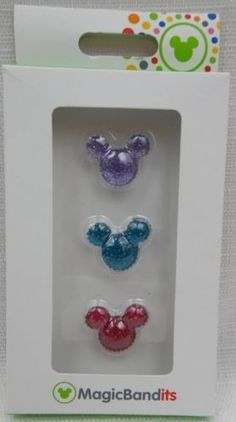 Disney-Parks-Magic-Band-Bandits-Pave-Mickey-Icon-Jeweled-Charms-Set-of-3-New