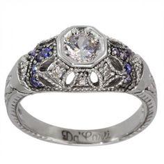 Vintage Sapphire Ring Diamond Engagement Ring Art Deco Ring & Filigree Ring 14k