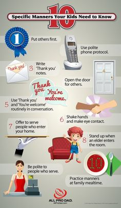 Try helping your kids learn these 10 specific manners! We hope it makes teaching manners to your kids more fun! #kidsmanners #infographic