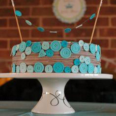 TurtleCraftyGirl: Cute As a Button Baby Shower Cake #blue #boy #cake