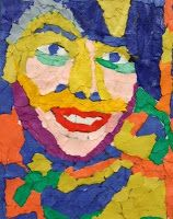 Fauvism-inspired portraits: torn paper pieces on top of printed picture of the student. 4-6th Grade