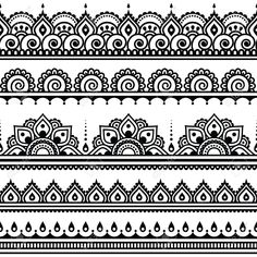 Mehndi, Indian Henna tattoo seamless pattern, design elements Standard-Bild - 40075234