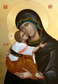 Mary and Jesus Religious Pictures, Religious Icons, Religious Art, Byzantine Icons, Byzantine Art, Mama Mary, Religious Paintings, Mary And Jesus, Madonna And Child