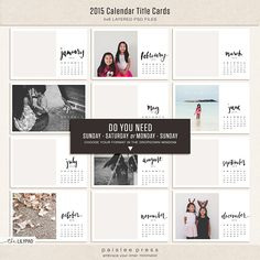 I'm totally using these 2015 Calendar Title Cards (4x6) from Paislee Press for Project Life or One Little Word next year!
