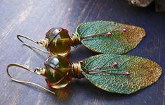 Wisdom - wearable art polymer clay green bronze garnet lampwork rustic leaf earrings. by PreciousViolet on Etsy