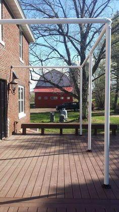 diy patio screening for deck . diy patio screening for deck Diy Pergola, Deck With Pergola, Pergola Ideas, Pergola Roof, Diy Awning, Privacy Ideas For Deck, Deck Awnings, Cheap Pergola, Porch Ideas