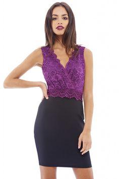 AX Paris Women's Lace V Wrap Front Plum Dress - Online Exclusive, Size: