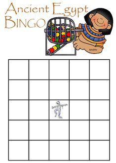 Egypt Bingo - Review Game for Ancient Egypt with game board, questions, and answers