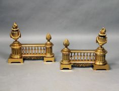 A Pair of Late 19th Century Gilt Bronze Chenets