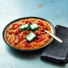Pepper, Tomato & Goats' Cheese Risotto