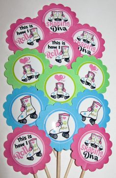 Roller Skating Cupcake Toppers/Party Picks Item #692 Skate Birthday Party