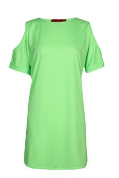 Una Oversized Cut Out Shoulder Neon Tee