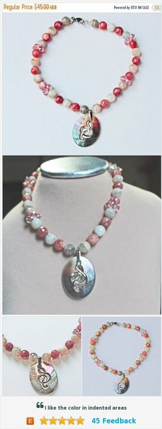 On Sale Pink Beaded Necklace, Sunstone beads mined in the USA, Oregon Sunstone Choker, Mother of Pearl G Clef Charm, Swarovski Beads, Gift F https://www.etsy.com/BEADEDNECKLACESHOPPE/listing/240067304/on-sale-pink-beaded-necklace-sunstone?ref=listing-shop-header-1