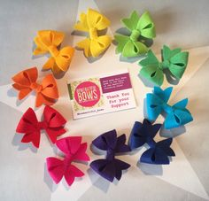 Excited to share this item from my shop: full set of rainbow felt bows approx inch Summer Hairstyles, Cool Hairstyles, Felt Bows, Ribbon Sculpture, Amazing Hair, Shape Design, Accessories Shop, Hair Bows, Hair Clips
