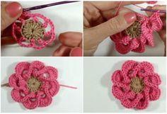 Multi Petals 3D Flower Crochet Tutorial - ilove-crochet