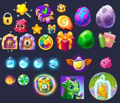 project Dragonoid (MidgameLab) on Behance Game Icon, Game Gui, Game Ui Design, Icon Design, Candy Games, Button Game, Mobile Art, Winter Games, Game Concept