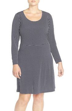 MICHAEL Michael Kors 'Cooper' Print Jersey Long Sleeve Fit & Flare Dress (Plus Size) available at #Nordstrom