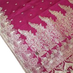 Vintage Sari Hand Woven Zari Brocade Antique Banarasi Pure Silk Fabric Deep Pink   eBay