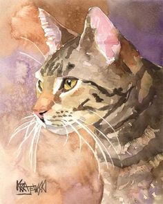 Tabby Cat Art Print of Original Watercolor by dogartstudio on Etsy