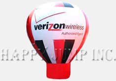 """These cold-air advertising balloons are powered by a continuously operating electric fan.  The fan mounts at the bottom of the balloon and can be powered by 110V or 220V electricity.  They fold up and can be transported in the storage bag in the trunk of your car.  The enormous size of these advertising balloons make them real big attention getters""""""""""""Each Hot Air Balloon includes: -\tHot air shaped advertising balloon made from the finest materials -\tSewn together with ..."""