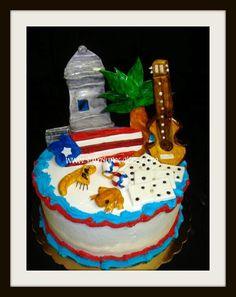 Puerto Rico themed Cake... Puerto Rican Cuisine, Puerto Rican Recipes, Cars Theme Cake, Birthday Party Themes, Birthday Cake, Puerto Rico Food, Bread Cake, Puerto Ricans, Fancy Cakes