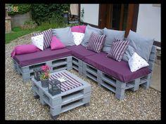 Sofá + chaise long + mesa em paletes cinza