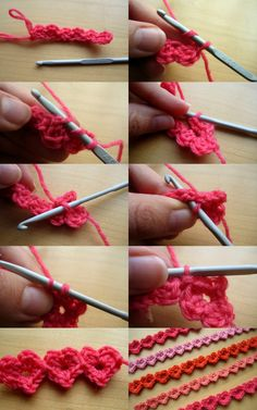 Working Row 2: 1 – at the end of R1, 2 – rotate work and yarn over for hdc (that is htr if UK), 3 – insert hook into centre of heart, 4 – after working the first heart, 5 & 6 – hook over and under the sl-st and ch between the hearts, 7 – draw up a loop, 8 – complete the sl-st by drawing first loop through second.