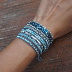 Blue mix wrap bracelet Boho bracelet Bohemian by on Etsy Blue Mix Wickelarmband Boho Armband Bohemian by on Etsy Bohemian Bracelets, Boho Jewelry, Beaded Jewelry, Jewelery, Handmade Jewelry, Beaded Bracelets, Silver Bracelets, Bracelet Wrap, Bracelets Fins