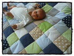 Krabbeldecken - BESTSELLER ---> Patchworkdecke dunkelblau/he... - ein Designerstück von MaiDesign bei DaWanda