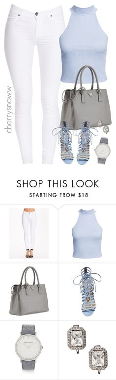 """White and baby blue chic spring outfit"" by cherrysnoww ❤ liked on Polyvore featuring Dr. Denim, NLY Trend, Prada, Steve Madden, Larsson & Jennings and Carolee"