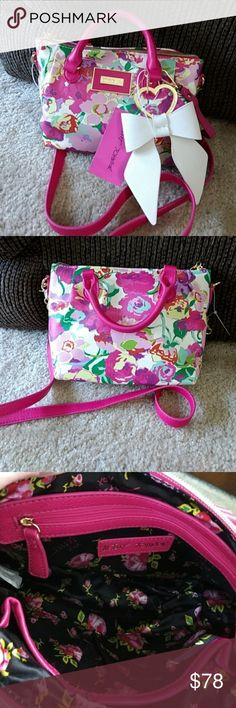Betsey Johnson Flowery Purse Colorful flowered bag with fushia accents. Item BM19265. Betsey Johnson Bags