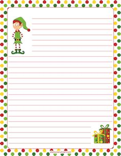 Elf Stationery and Writing Paper DIY Paper Lanterns Paper lanterns come in diverse sizes and styles Christmas Boarders, Free Printable Stationery, Stationery Templates, Diy Paper, Paper Crafts, Lined Writing Paper, Christmas Writing, Christmas Stationery, Christmas Activities