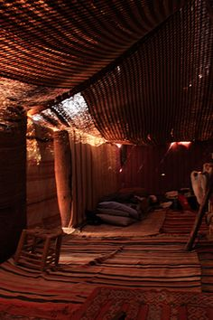 A Bedouin tent is the perfect inspiration for all these slanty attic walls.