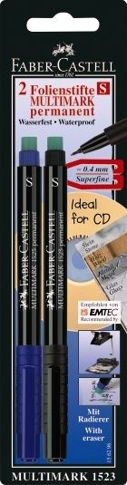 Permanent/water-proof Faber-Castell Multimark. Black only. $4 USD?
