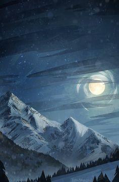 Winter Moon Art Print by zandraart - X-Small Landscape Wallpaper, Landscape Paintings, Beautiful Sky, Beautiful Landscapes, Fantasy Landscape, Fantasy Art, Sky Landscape, Sky Art, Anime Scenery