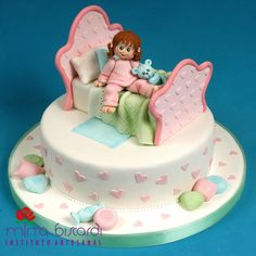 Girl on a bed Cake Fancy Cakes, Cute Cakes, Pretty Cakes, Yummy Cakes, Little Girl Cakes, Baby Girl Cakes, Fondant Cakes, Cupcake Cakes, Bed Cake