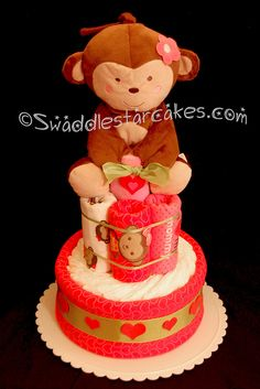 Monkey Love Diaper Cake by swaddlestar, via Flickr
