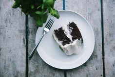 ina garten's chocolate cake (coffee) & basil butter cream