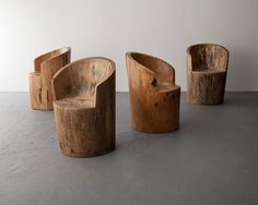 Chairs carved from logs.