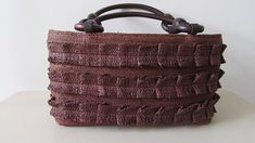 Retro Handbag. 1990 Small Brown Taffeta Bag. Retro Wicker Bag. Bo Ho Bag. Art Ho Small Retro Bag. Retro We Be Bag. Small Brown Handbag.