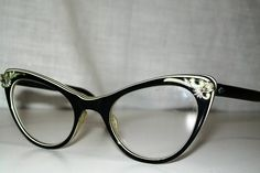 Vintage American Optical Black White 50's Cat Eye Rhinestone Frames Eye Glasses | eBay