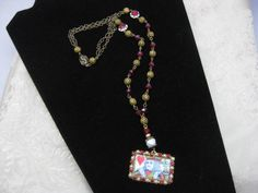 Bling King - Suicide King or King of Hearts and Red Glass and Pearl accent pendant necklace with ornate brass biscuit squeeze clasp by ErinRoseDesign on Etsy