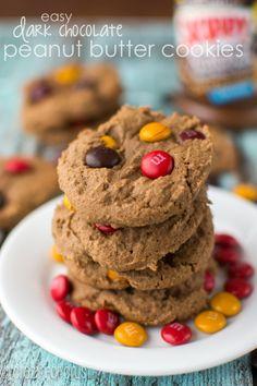 Easy Dark Chocolate Peanut Butter Cookies | crazyforcrust.com