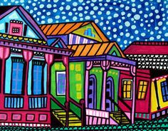 New orleans Art Print Poster Painting French Quarter mardi gras Modern Abstract