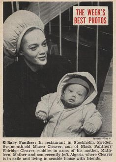 Kathleen Cleaver with Son Maceo in Stockholm, Sweden - Jet Magazine, February 19, 1970