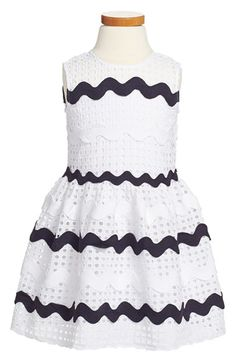 Halabaloo+Stripe+Eyelet+Dress+(Toddler+Girls,+Little+Girls+&+Big+Girls)+available+at+#Nordstrom