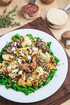 Roasted Cauliflower and Mushroom Quinoa Salad in Balsamic Vinaigrette with Goat Cheese